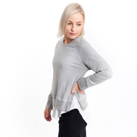 Side Zip Sweat in Grey Marle - Miles From