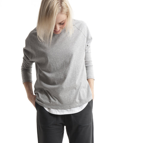 Oversized Raglan Tee in Grey Marle