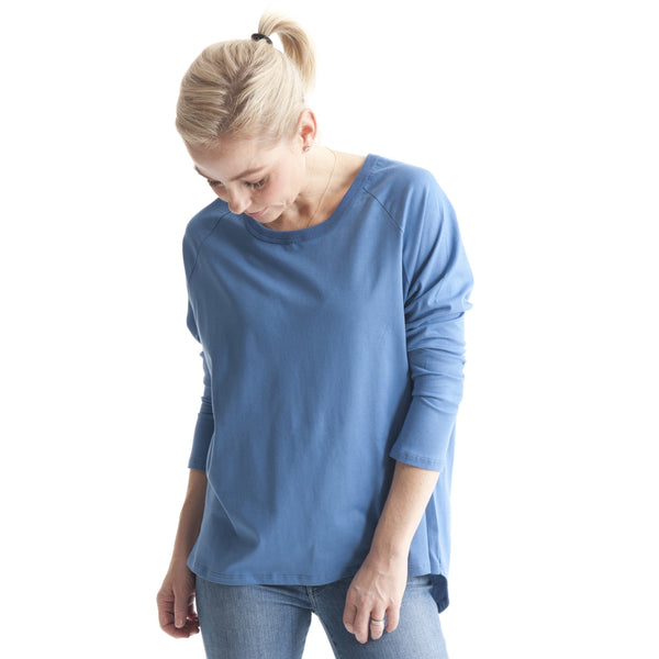 Oversized Raglan Tee in Arctic Blue