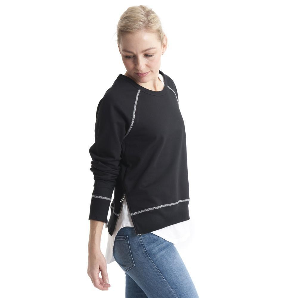 Side Zip Sweat in Black