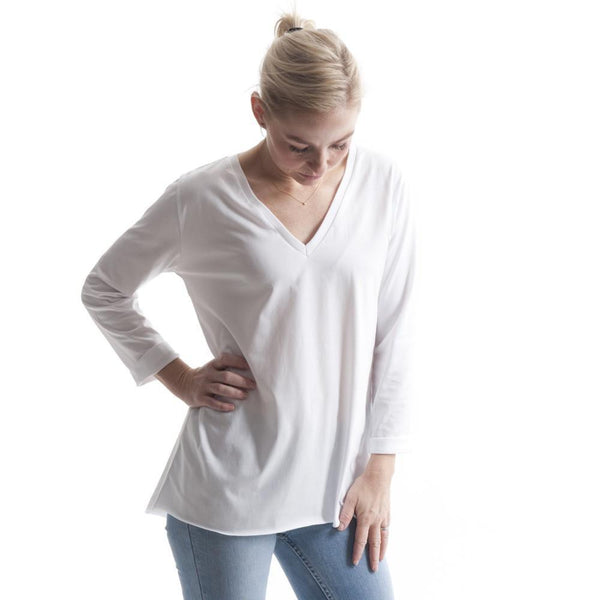 Long Sleeve V Tee in White