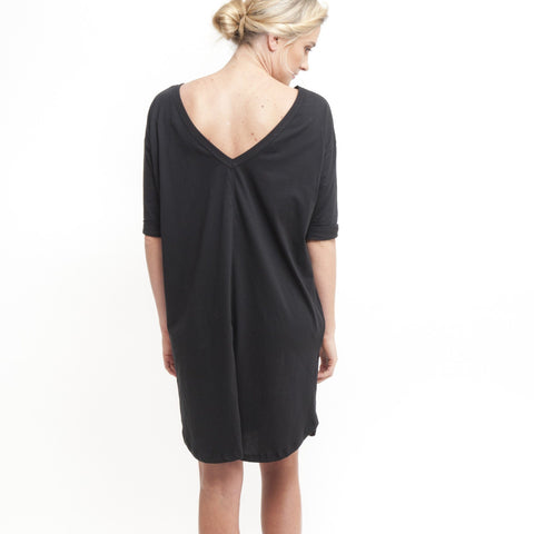 V Back to Front Dress in Black - Miles From - 1