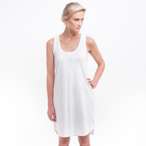 Singlet Dress in White - Miles From - 1