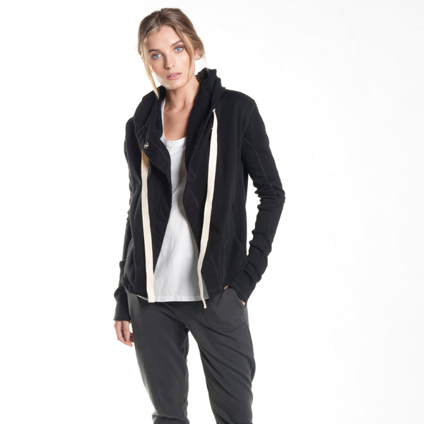 short hooded drape jacket in black - Miles From
