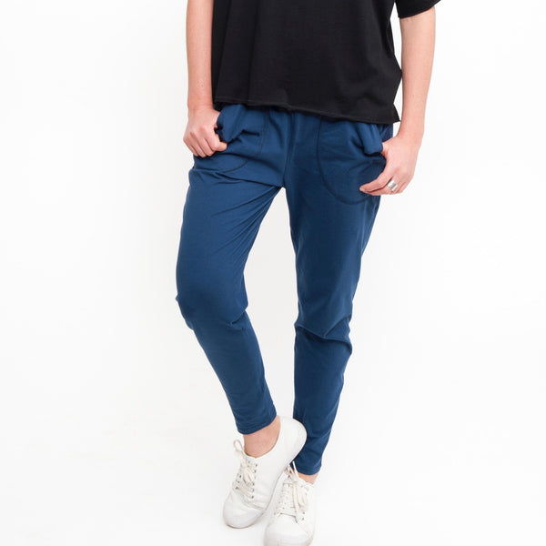 Cotton Lounge Pant in Denim - Miles From - 1