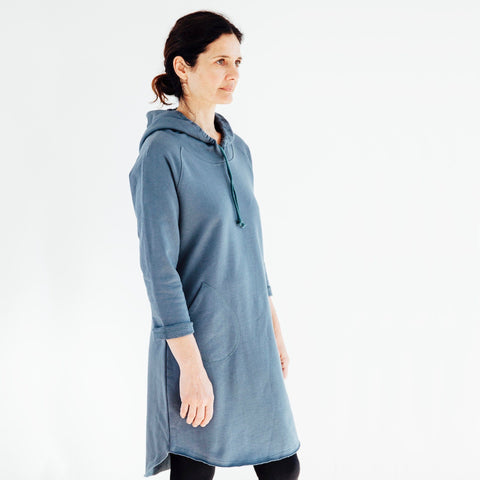 Hooded Track Dress - Slate Green - Miles From - 1