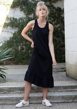 Frill Hem Tank Dress in Black
