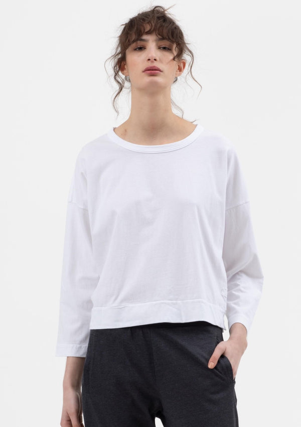 Boxy Crop Tee in White