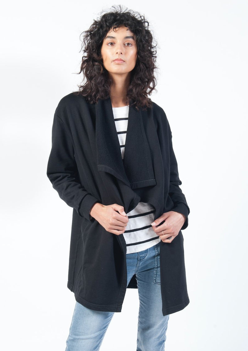 Drape Collar Cardi in Black