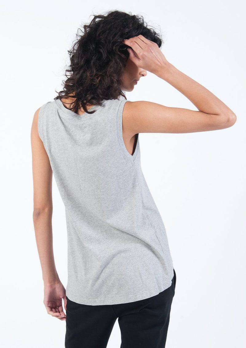 V-Neck Tank in Grey Marle