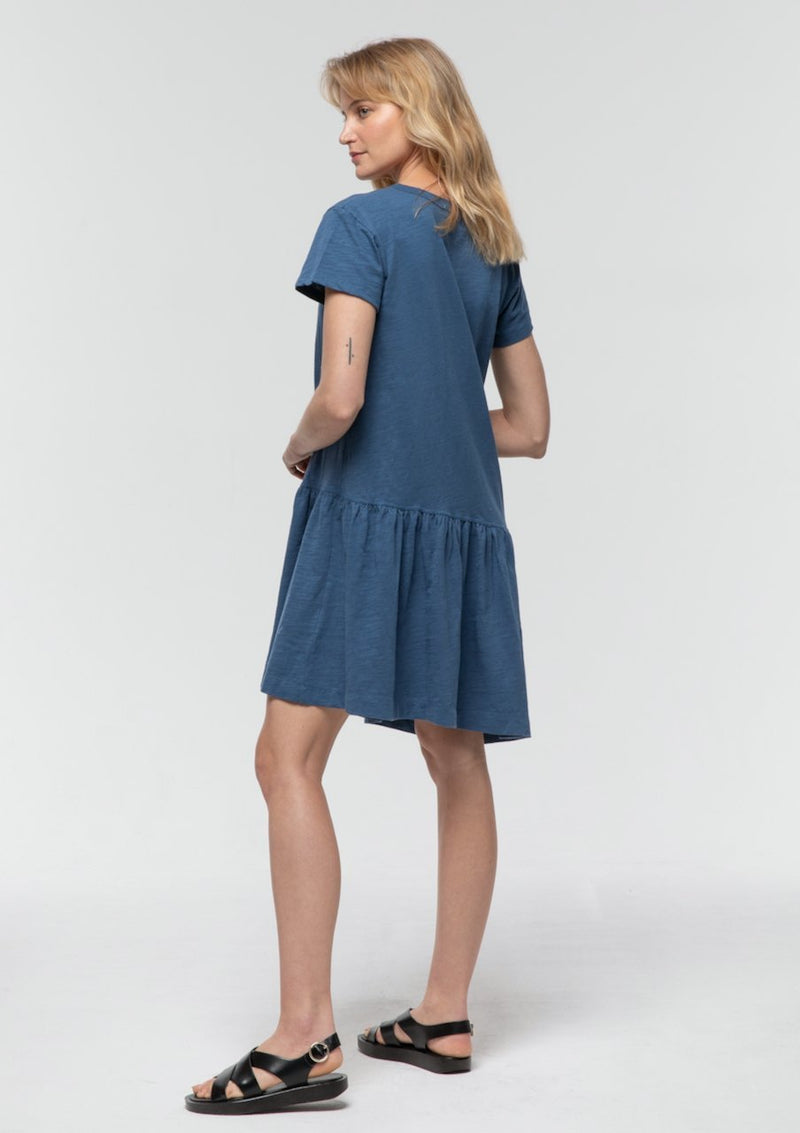 Asymmetrical Drop Waist Dress in Sapphire - Miles From