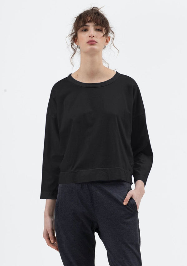 Boxy Crop Tee in Black - Miles From