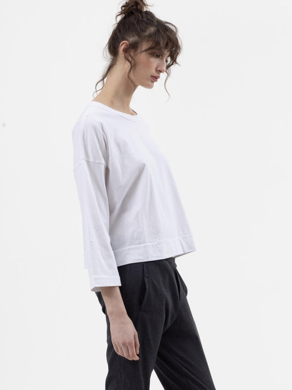 Boxy Crop Tee in White - Miles From