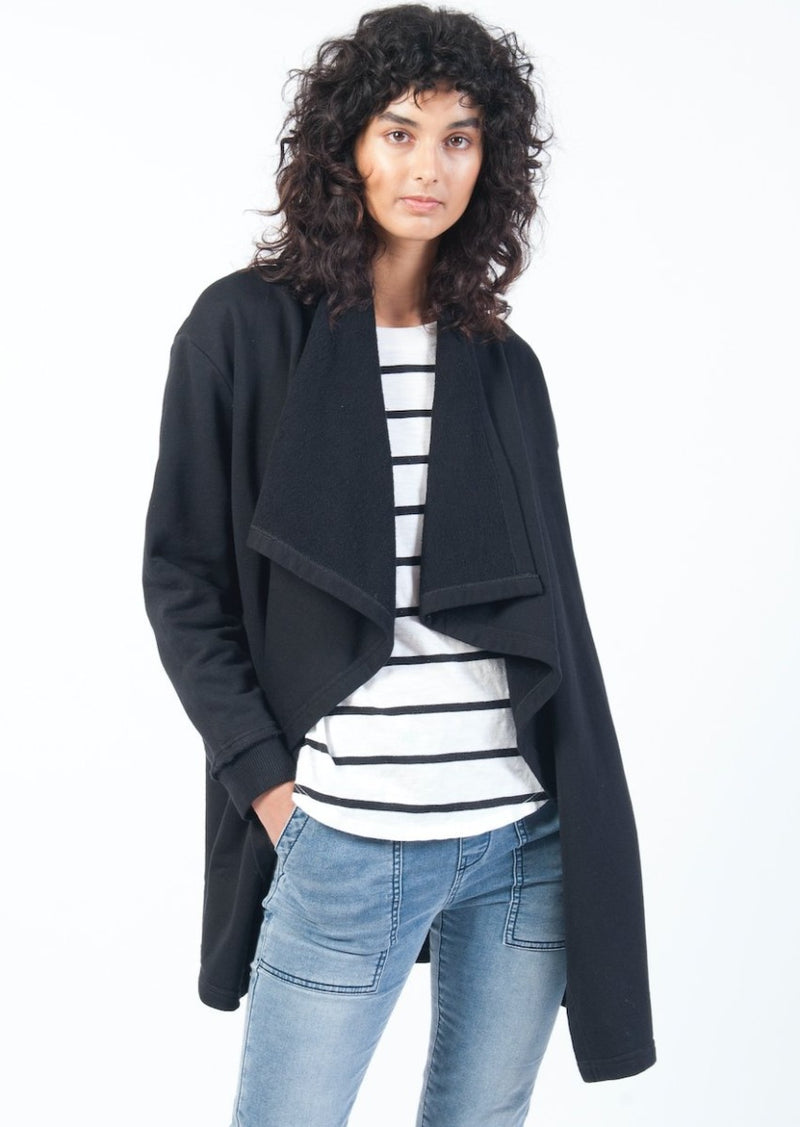 Drape Collar Cardi in Black - Miles From