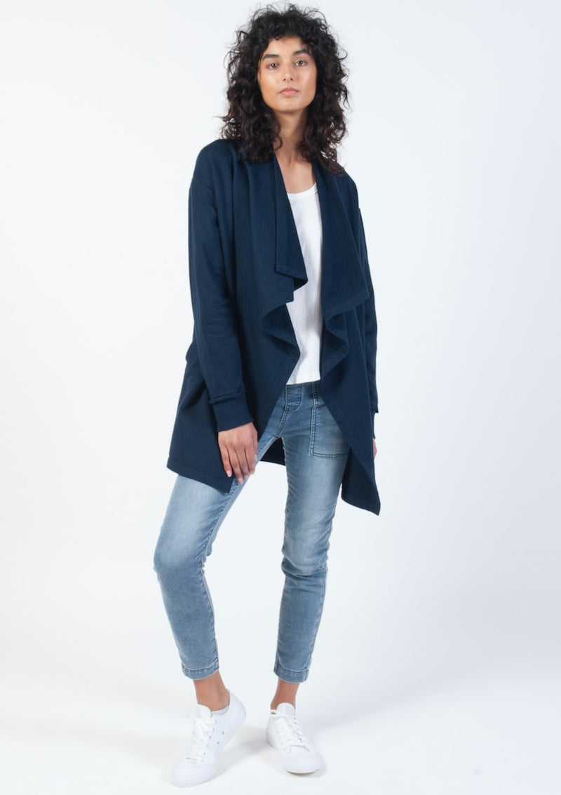 Drape Collar Cardi in Navy - Miles From