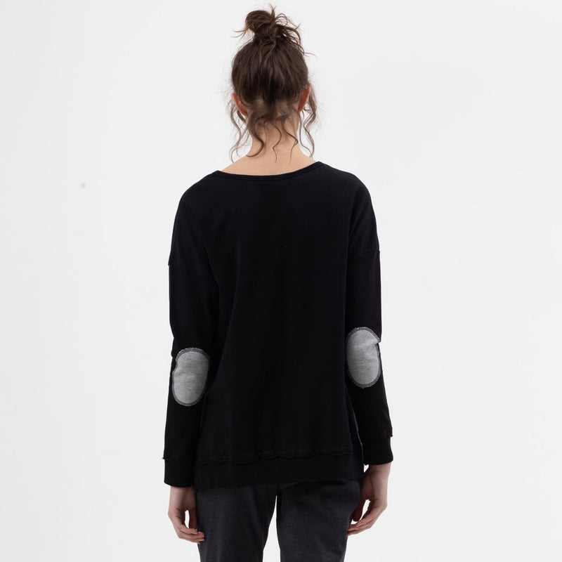 Elbow Patch Boxy Sweat in Black - Miles From