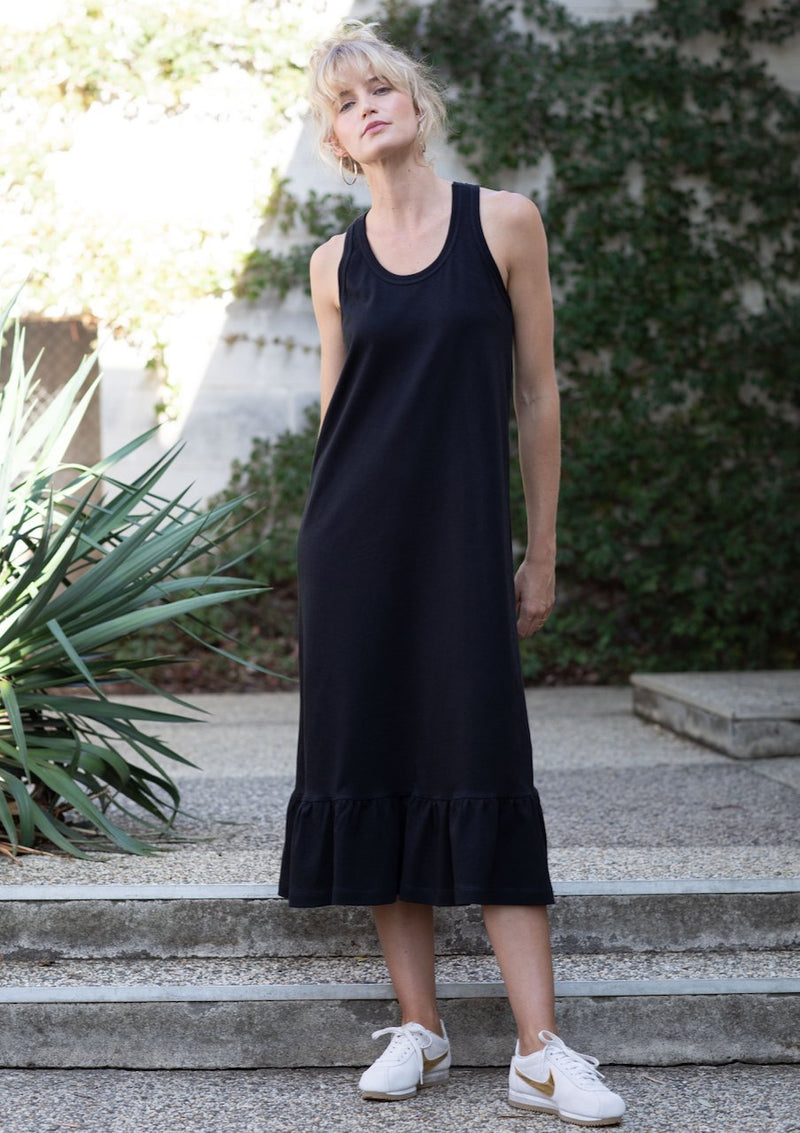 Frill Hem Tank Dress in Black - Miles From