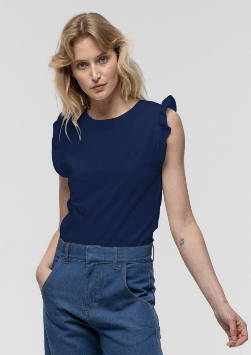 Frill Sleeve Tank in Navy - Miles From