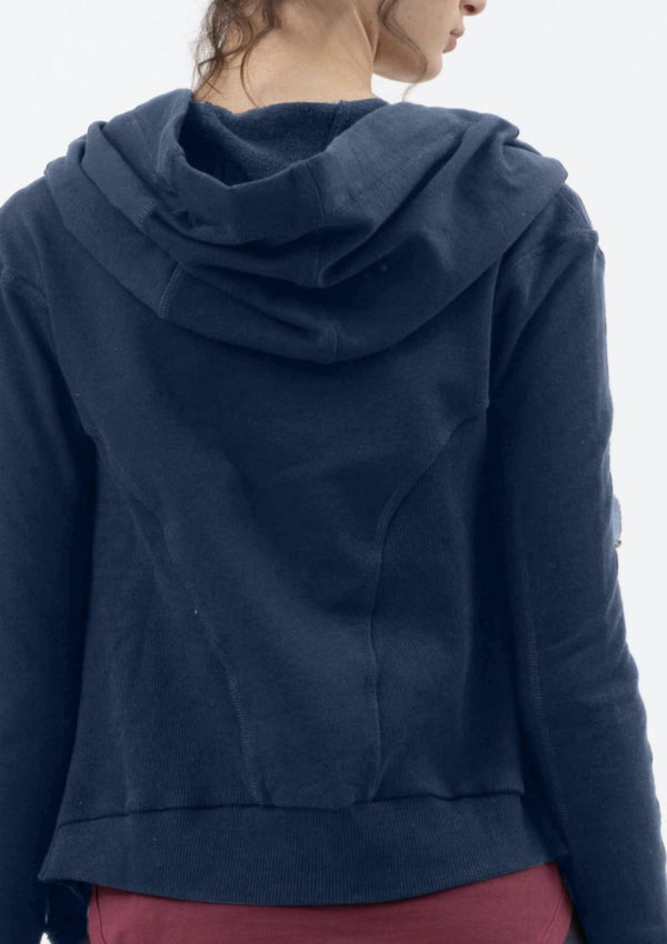 Short Hooded Drape Jacket in Dark Navy
