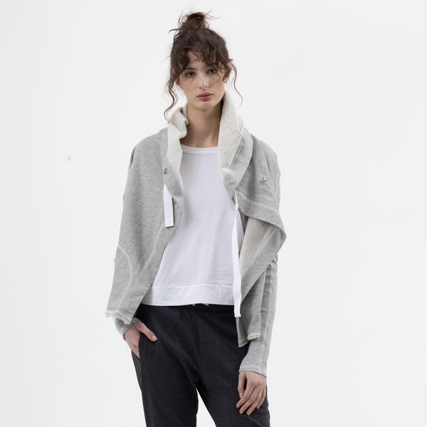 Short Hooded Drape Jacket in Grey Marle