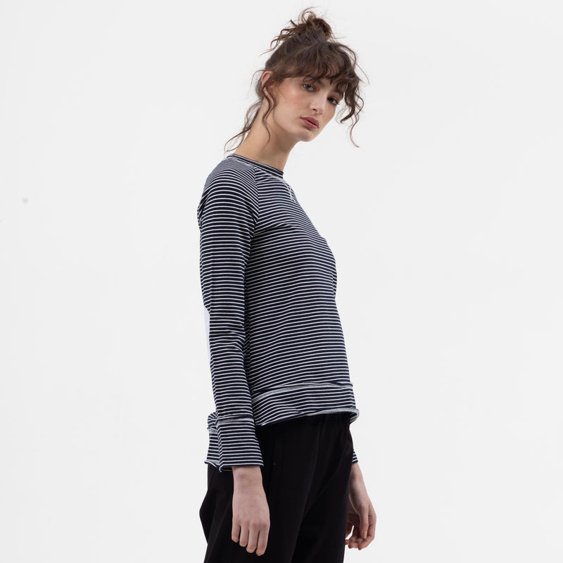 Stripe Raglan Sweat in Navy - miles-from - Sweat