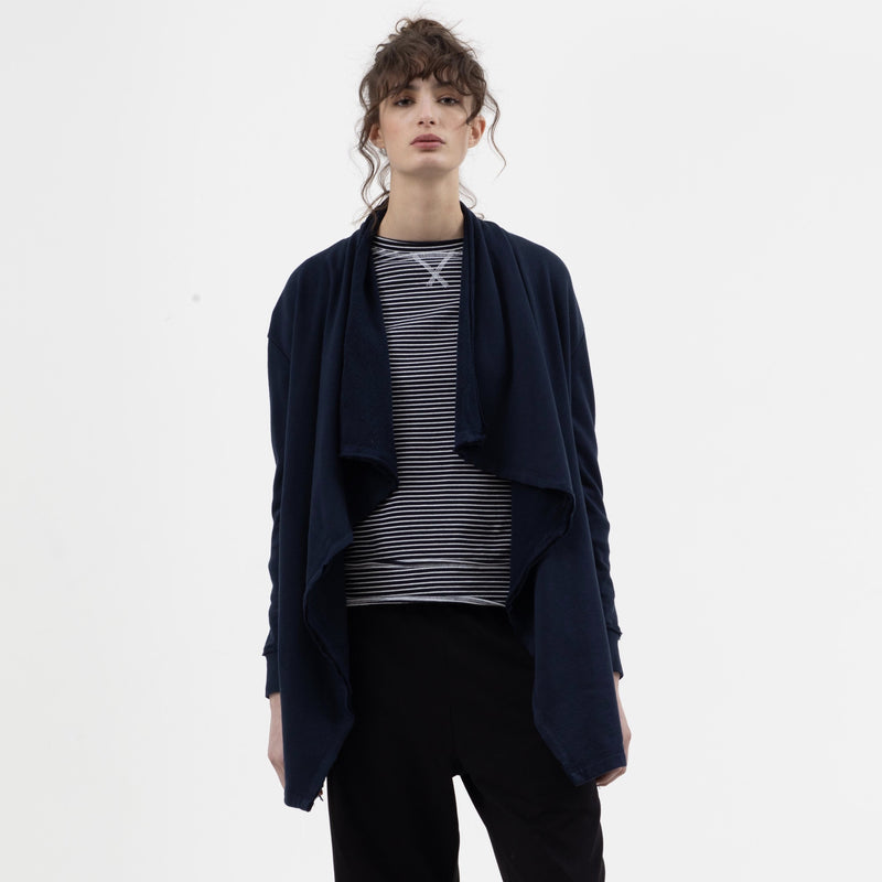 Long Drape Cardigan in Navy - miles-from - Cardigan
