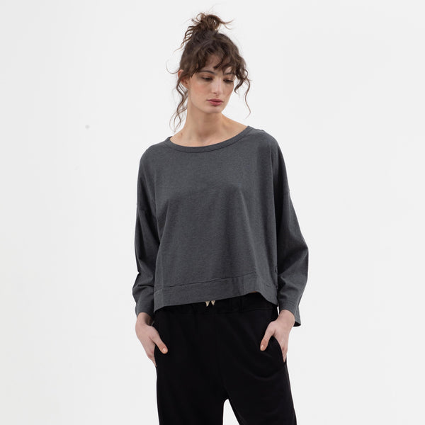 Boxy Crop Tee in Charcoal
