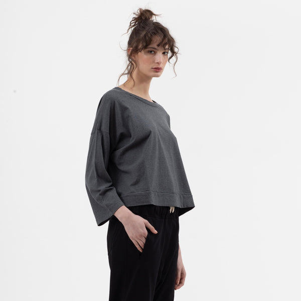 Boxy Crop Tee in Charcoal - miles-from - Long Sleeve Tee