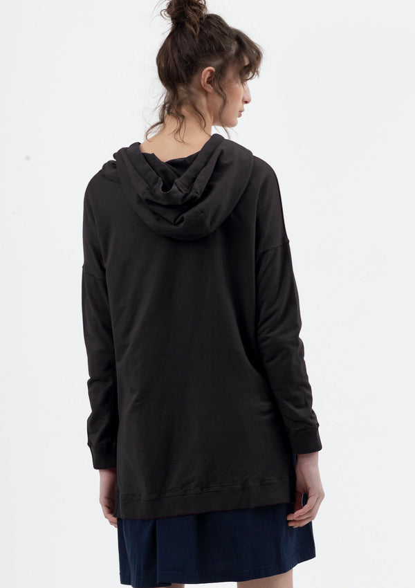 Drop Back Hoodie in Black - miles-from - Sweat