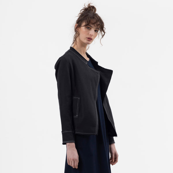 Raw Relaxed Military Jacket in Black