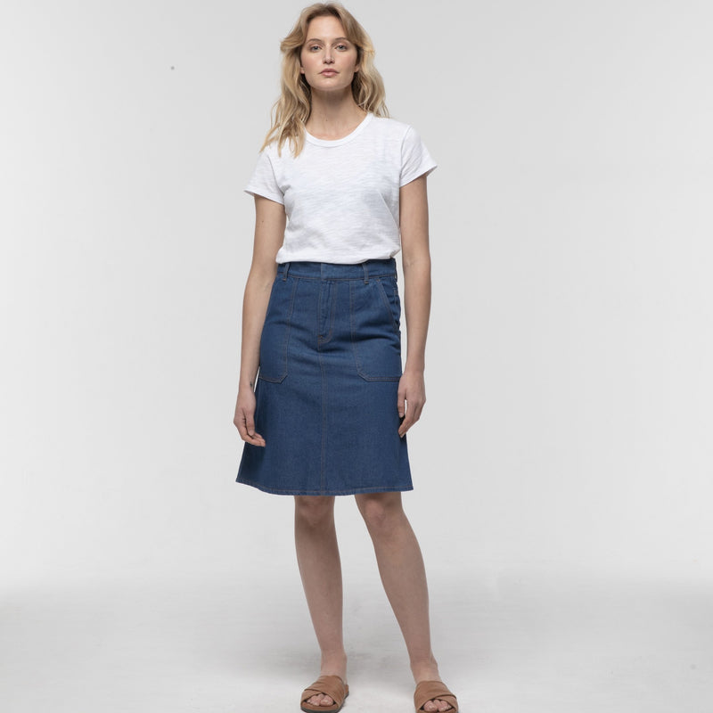 Denim A-Line Skirt - miles-from - Skirt