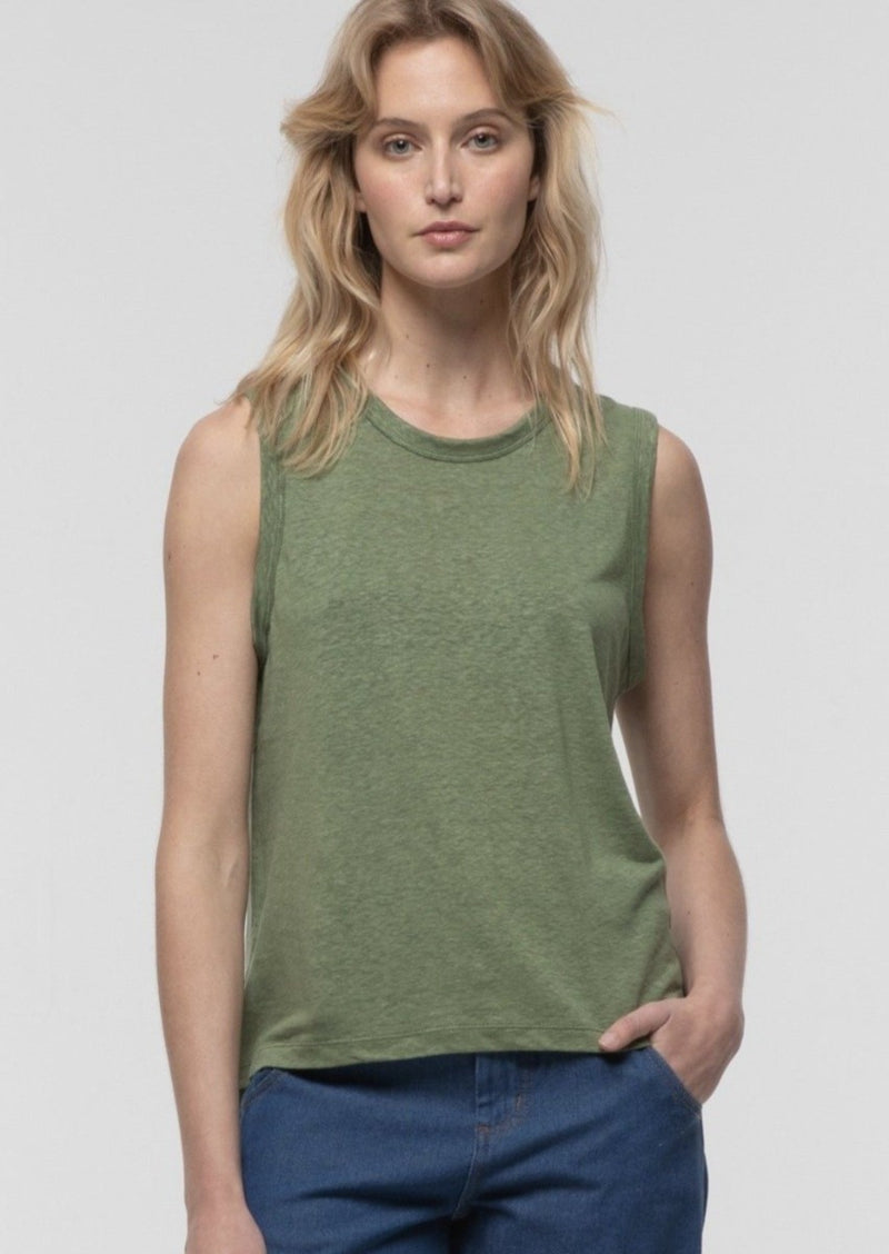 High Crew Neck Tank in Forest - Miles From