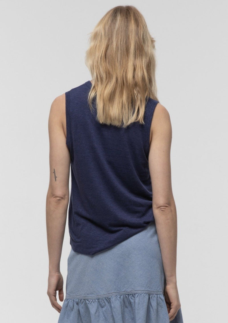 High Crew Neck Tank in Midnight - Miles From