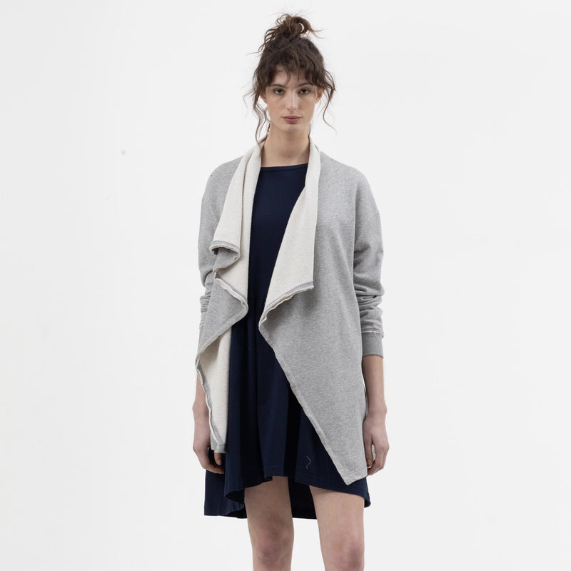 Long Drape Cardigan in Grey Marle - Miles From