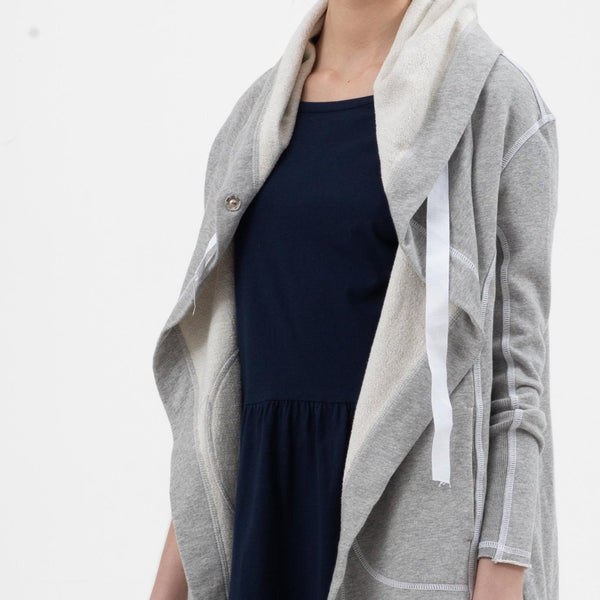 Long Hooded Drape Jacket in Grey Marle - Miles From