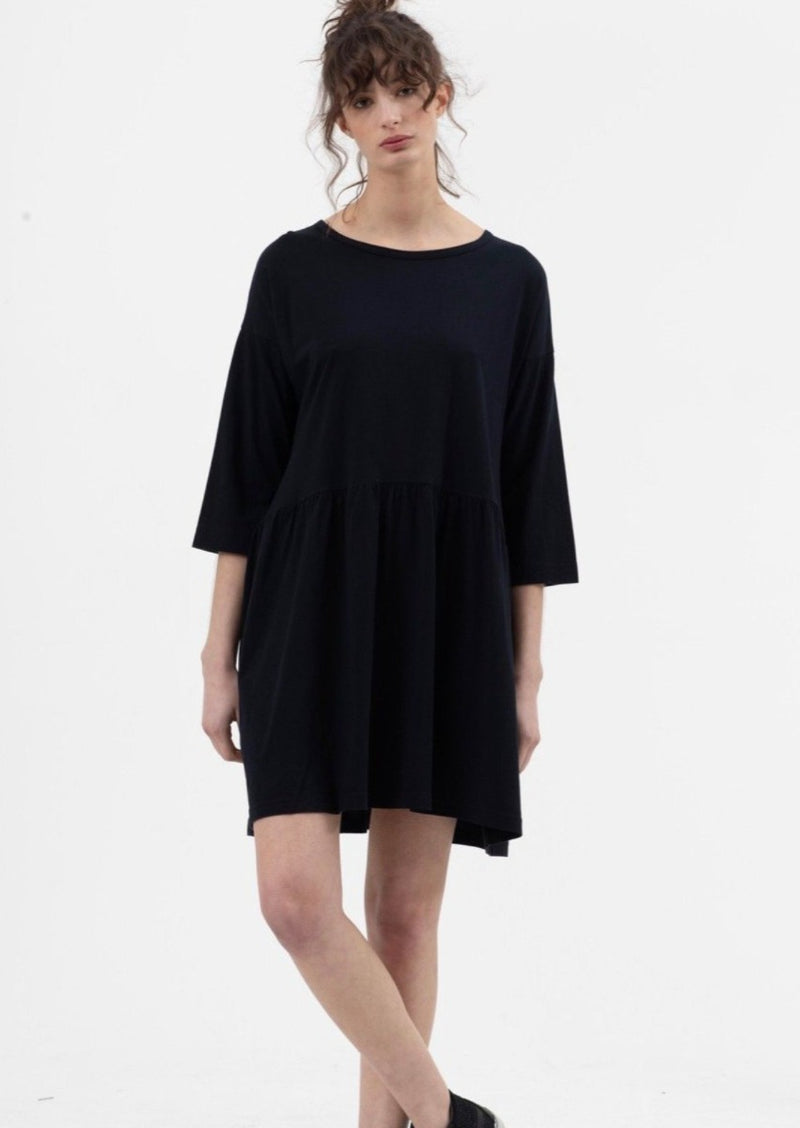 Long Sleeve Boho Dress in Black - Miles From
