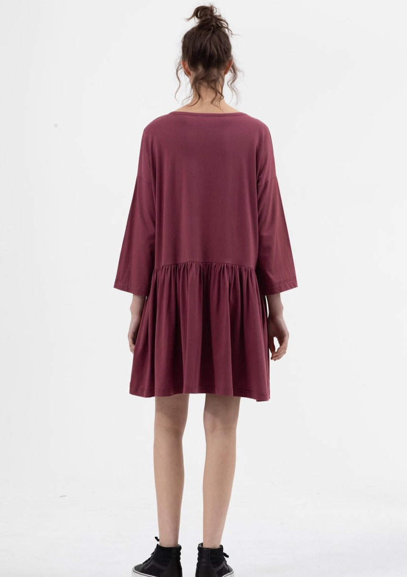 Long Sleeve Boho Dress in Plum - Miles From