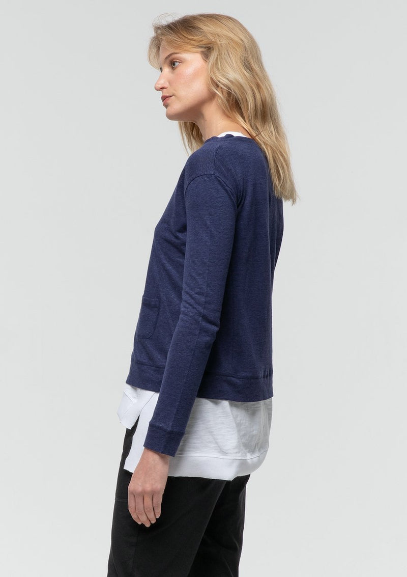 Long Sleeve Crop Cardi in Midnight - Miles From