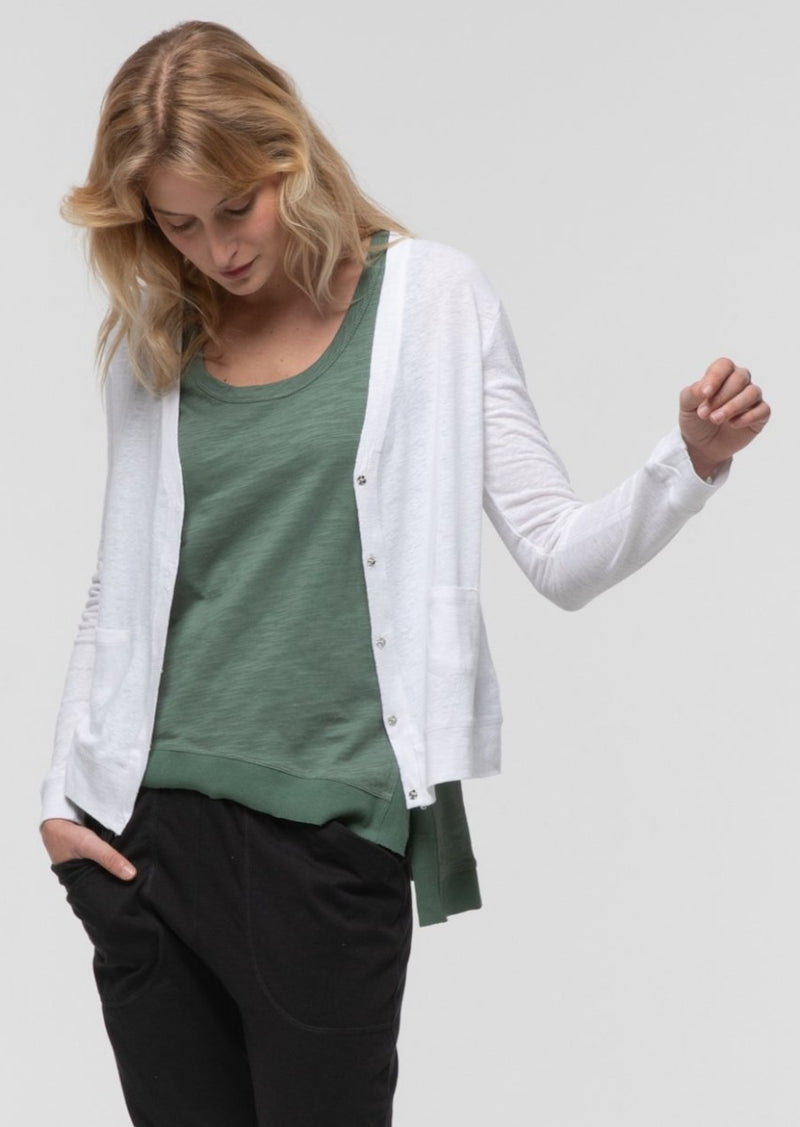 Long Sleeve Crop Cardi in White - Miles From