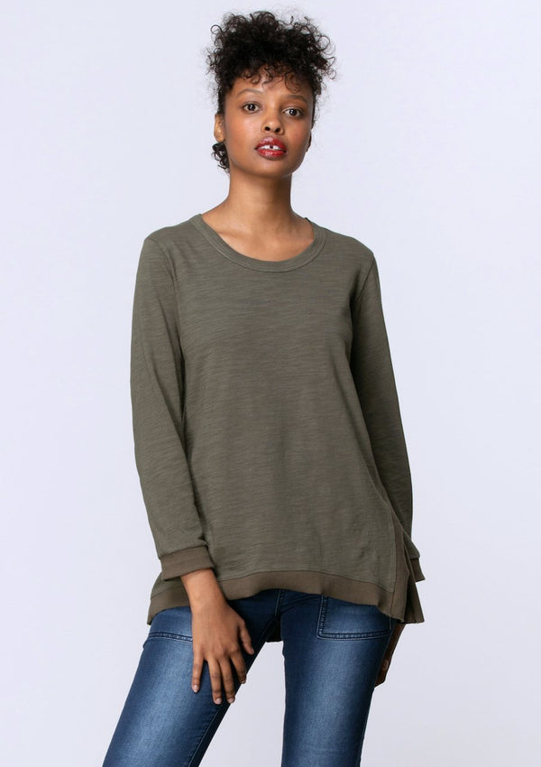 Long Sleeve Side Split Tee in Khaki - Miles From