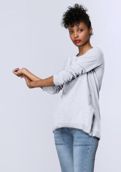 Long Sleeve Side Split Tee in White - Miles From