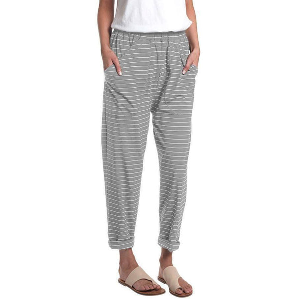 Striped Slouchy Roll Up Pant - miles-from - Pants