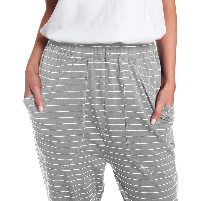 Pants - Striped Slouchy Roll Up Pant