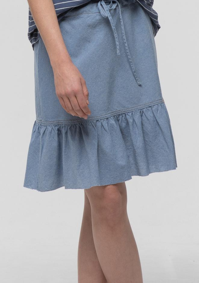 Raw Frill Chambray Skirt - Miles From
