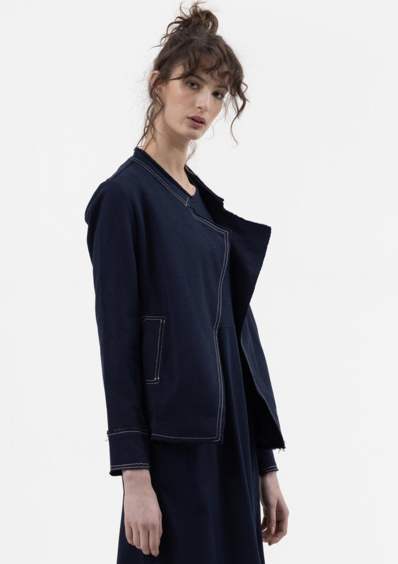 Raw Relaxed Military Jacket in Dark Navy - Miles From