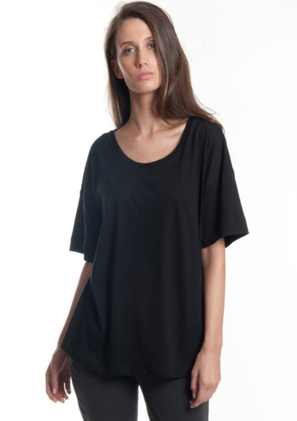 Relaxed Roll Up Organic Tee in Black - Miles From