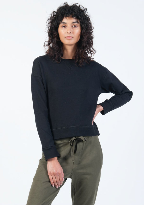 Ribbed Crop Sweat in Black - Miles From