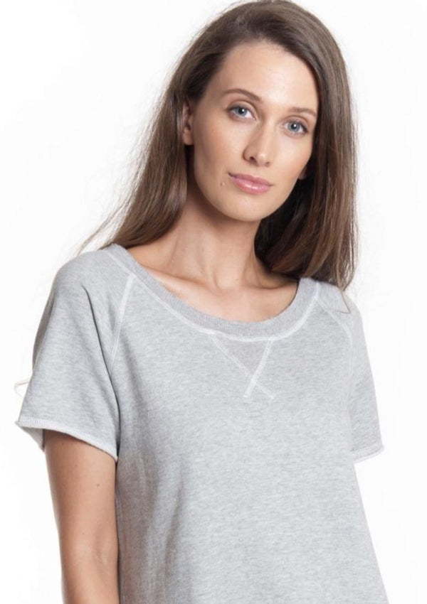 Short Sleeve Sweat Dress in Grey Marle - Miles From