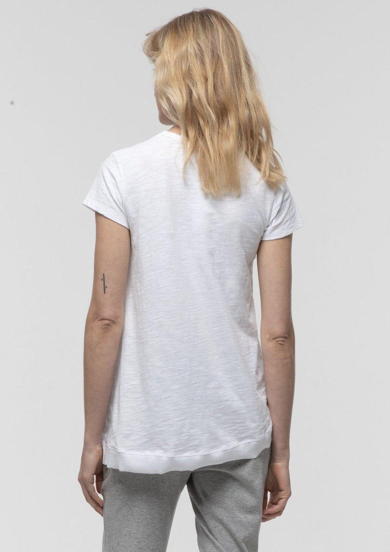 Side Split Tee in White - Miles From