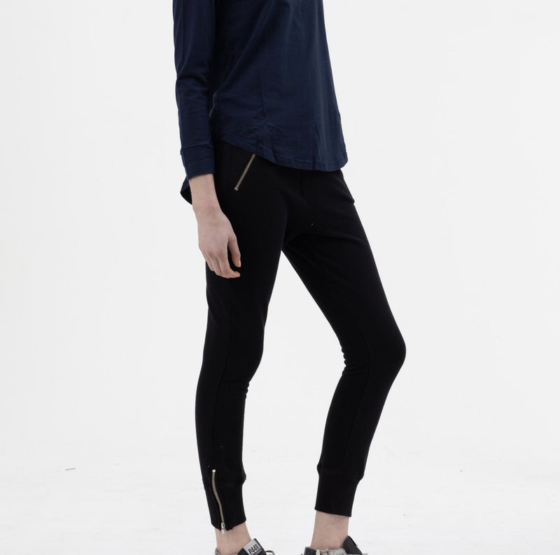 Skinny Ankle Zip Pant in Black - Miles From